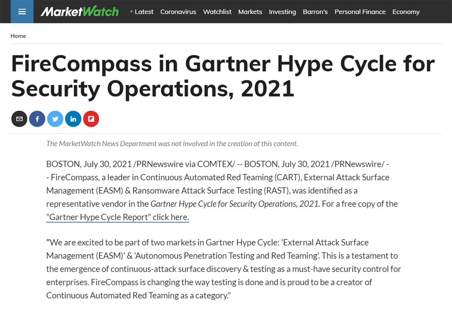 Press Release: FireCompass in Gartner Hype Cycle for Security Operations, 2021
